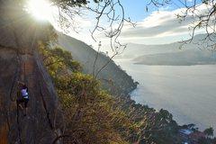 Rock Climbing Photo: Nanci Cruz at the top of Manos.