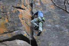 Rock Climbing Photo: Wilber Juarez on the crack part of the route.