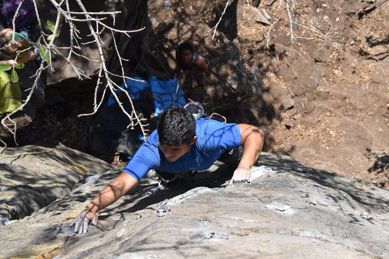 Rock Climbing Photo: Alejandro Galindo reaching for a tiny crimp on Mor...