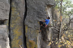 Rock Climbing Photo: Alejandro Galindo on the tricky moves right before...