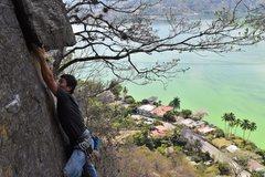 Rock Climbing Photo: Woo Ri Ko approaching one of the 3 small roofs tha...