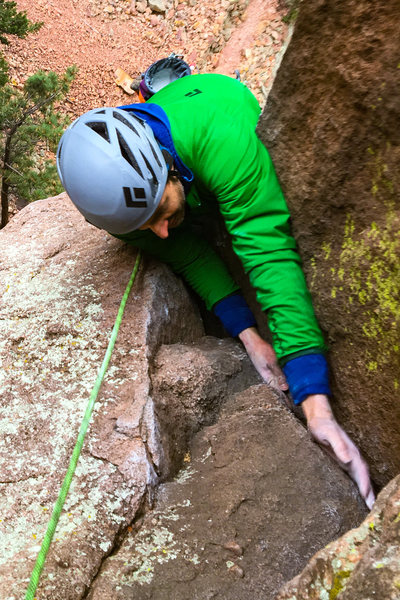 [[10610]] topping out the first pitch of <em>Blind Faith</em>.
