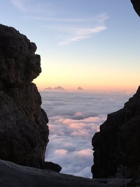 Rock Climbing Photo: Sunrise from amphitheater 2 (aka when you have to ...