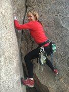 Heidi exploring Diagnostics.  (low crux w an unexpectedly slippery left wall)