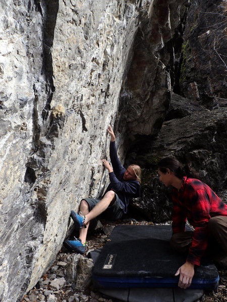 Rock Climbing Photo: pulling the first move into the gnar two-finger po...