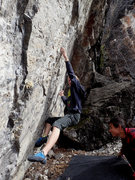 Rock Climbing Photo: reaching for feet near the start. photo by Tomono ...