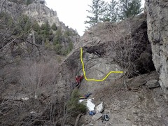 Rock Climbing Photo: beta photo showing the traverse line from right to...