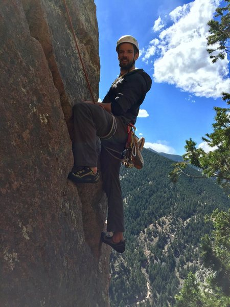Rock Climbing Photo: Stranger at the top of the Rebuffat's Arete.