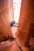 Rock Climbing Photo: Clipping the second to last bolt after the not as ...