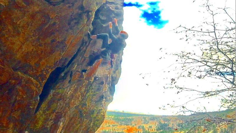 Rock Climbing Photo: Getting though the meat of Tombstone.