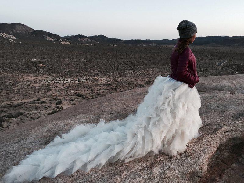 trash the dress photo shoot on top of Cyclops rock