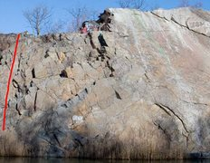 Rock Climbing Photo: Long Face is on the far left of F Wall.  Watch out...
