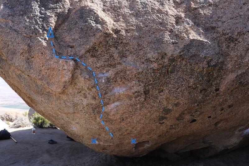 Rock Climbing Photo: Line of travel.