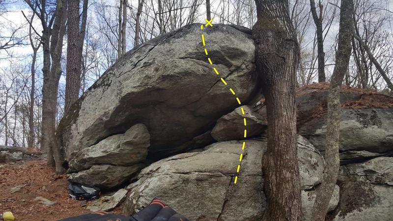 Rock Climbing Photo: Sit start under the nose. Work up good jugs then t...