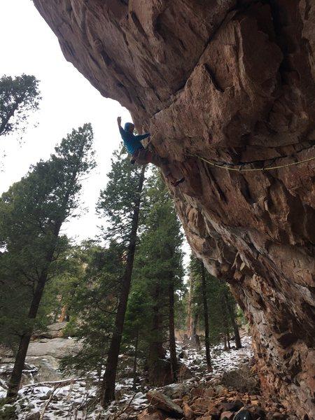 Shaun nabbing the second ascent. Pumpy!