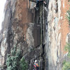 Australian climbing legends Bob Bull (belaying) and Tony McKenny (leading) starting up Fiddlesticks