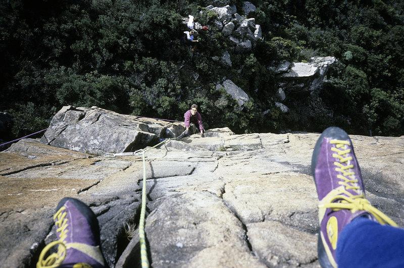 Rock Climbing Photo: Justin Otlowski following Precarious P1, c1988.