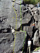 Rock Climbing Photo: Yellow line is Z-riss (7+) and the green to the ri...