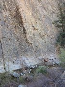 Rock Climbing Photo: There is a bolt under the triangle shaped ceiling ...