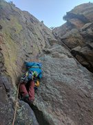 Rock Climbing Photo: Kevin climbs the 1st pitch of Great Zot to start R...