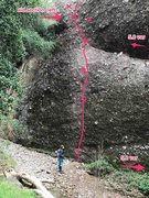 Rock Climbing Photo: Start of the route from the stream bed. If you rea...
