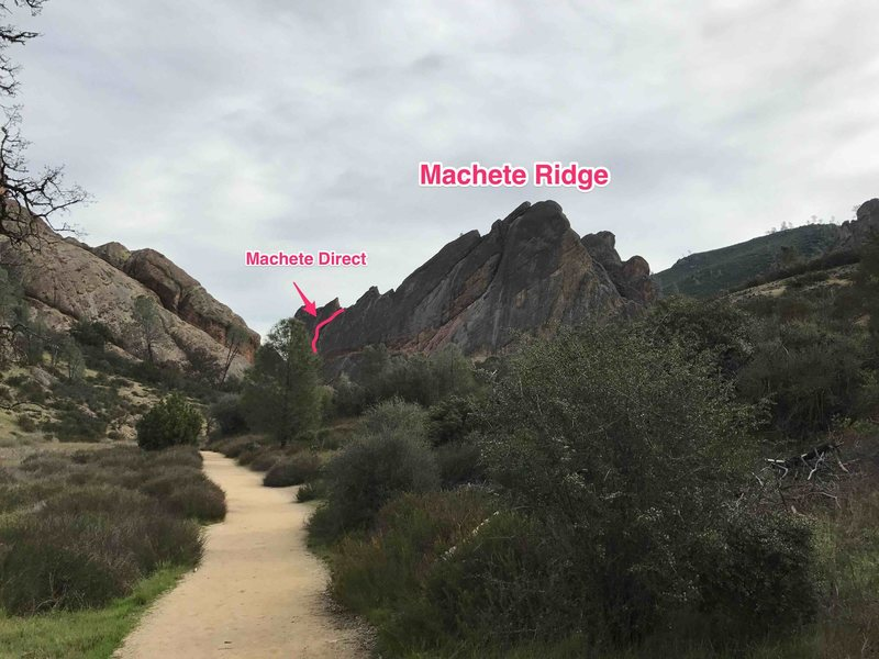 Rock Climbing Photo: Approach to Machete. Balconies show up on your lef...