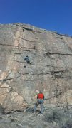 Rock Climbing Photo: JG at the crux.