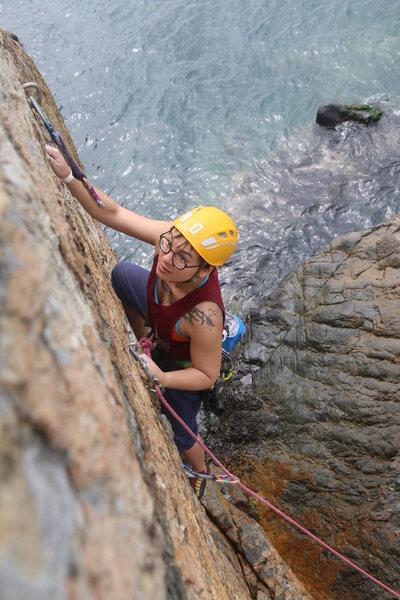 Rock Climbing Photo: Coastal climbing at Ap Lei Chau