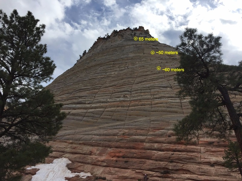 Rock Climbing Photo: Checkerboard Mesa with approximate location of bol...