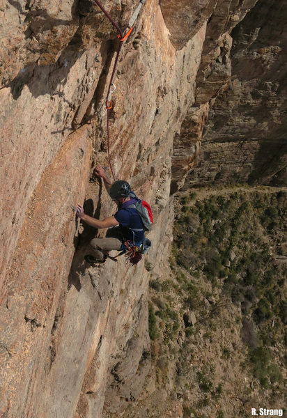 Rock Climbing Photo: Wolf Riehle during the 4th pitch FA Midas Touch (5...