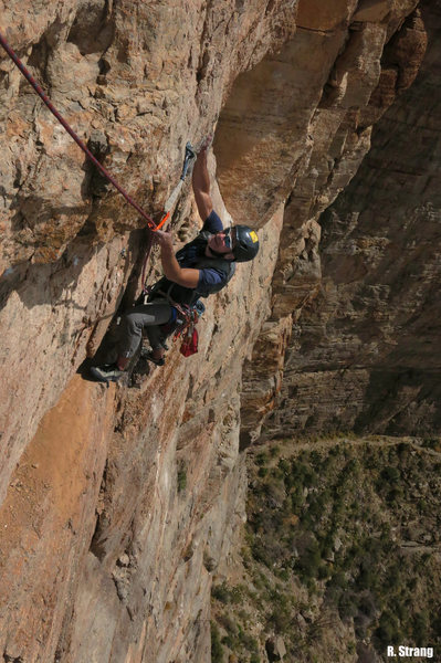 Rock Climbing Photo: Wolf traverses to the 4th belay Midas Touch (5.10c...