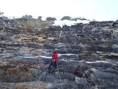 Rock Climbing Photo: Pulling through the first bulge.    Photo: Adam Da...