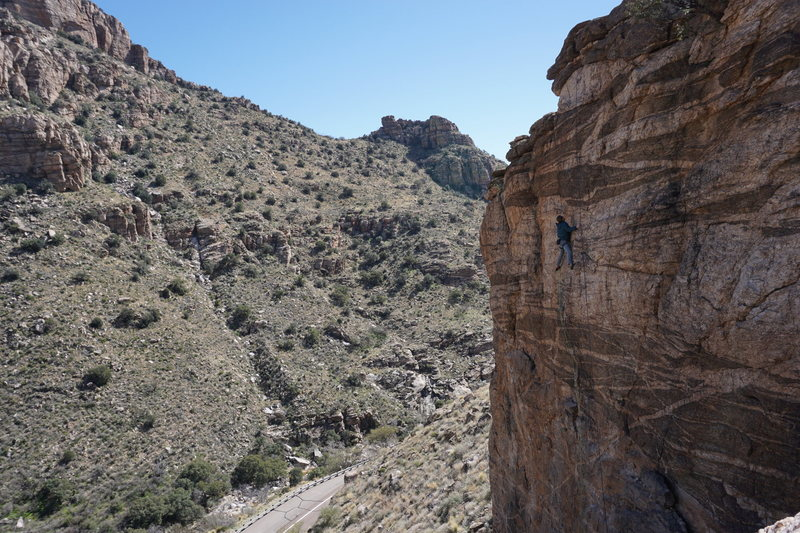 Kemper climbing at the newly expanded Crags Against Humanity