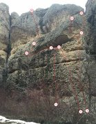 Rock Climbing Photo: Photo showing the left most routes at the Fast Foo...
