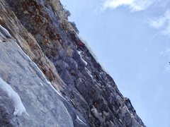 Rock Climbing Photo: Fun transition to ice!  Should have used longer dr...