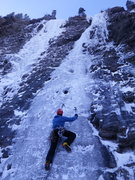 Moonlight on the left, Snowline on the right. Classic Evan Thomas ice routes.  Photo: Vanessa Fabian