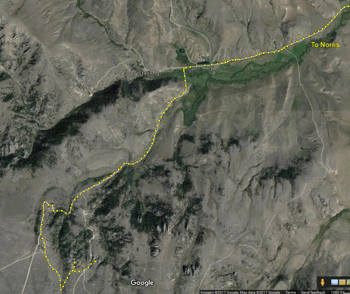 Driving route to get to main crags