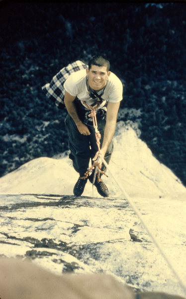 Rock Climbing Photo: Topping out on the Nose, 1959.
