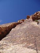 Rock Climbing Photo: Jorge Urioste near top of P1
