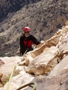 Rock Climbing Photo: J Urioste topping out on some pitch (?) Jubilant S...