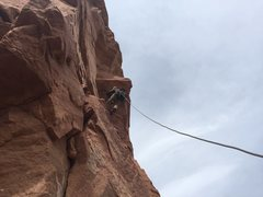 Rock Climbing Photo: Neil Kauffman crushing it through the p2 roof