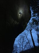 Rock Climbing Photo: Working the top as darkness falls