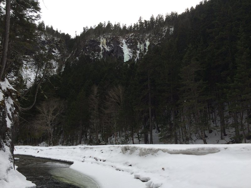 The top pitch of Alaska Flashback as seen from the Little Salmon River.