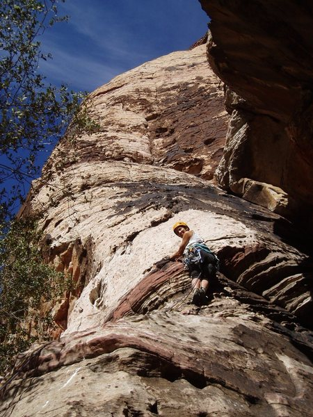 FA-er Joanne Urioste starts up P1 of Olive Oil in a later ascent, Nov 2006
