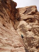 Rock Climbing Photo: FA-er Joanne Urioste on the last pitch corner in a...