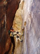 Rock Climbing Photo: Jorge Urioste in the p2 chimney...I found these mo...