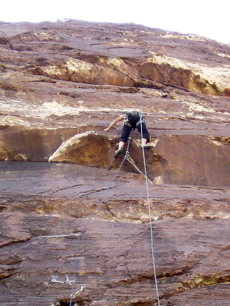 Rock Climbing Photo: J.U. clearing the OH on Sens. Mortician