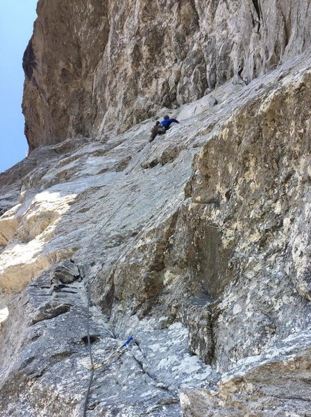 Approaching the Boulder Problem crux. TC photo