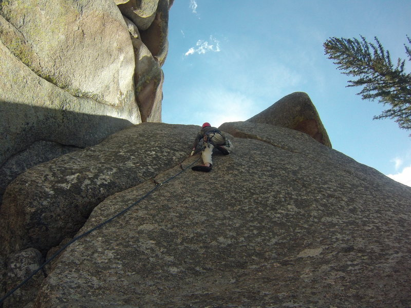 Trapper on his first trad lead.