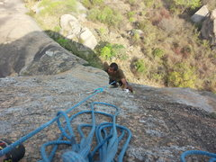 Rock Climbing Photo: Madhu Raj following P2, having just led P1.